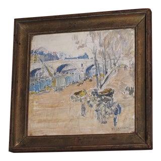 "Pastel Watercolor Painting Titled ""Quai"" For Sale"