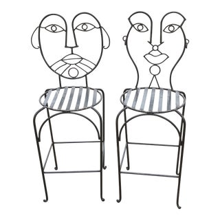 John Risley Style Wrought Iron Bar Stools- A Pair For Sale