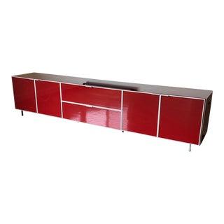 1980s Bontempi Casa Long Red Media Cabinet For Sale