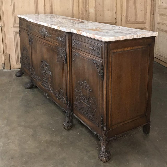 19th Century French Louis XIV Marble Top Buffet For Sale - Image 4 of 13
