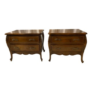 French Louis XVI Style Bombe Nightstands - Pair For Sale