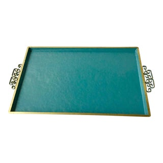 1950s Turquoise Enameled Tray For Sale