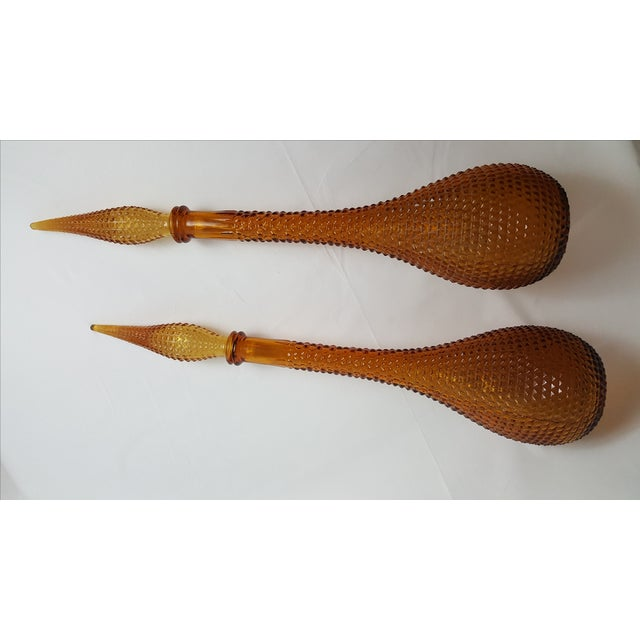 Gold Handblown Murano Glass Genie Bottle Decantors, a Pair For Sale - Image 5 of 5