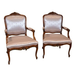 Pink French Bergere Style Accent Chairs - A Pair