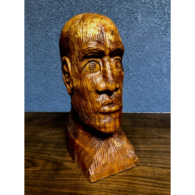 1970s Vintage Solid Wood Hand-Carved Male Bust Sculpture For Sale - Image 9 of 9