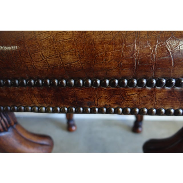 Animal Skin Leather Embossed Gazelle Benches, Pair For Sale - Image 7 of 8