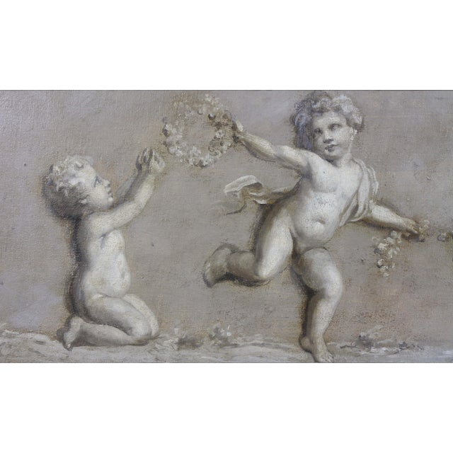 French French Grisaille Oil Painting on Canvas of Putti For Sale - Image 3 of 8