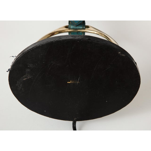 "Very Nice Blue Leather ""Stirrup"" Lamp in the Style of Jacques Adnet For Sale - Image 10 of 11"