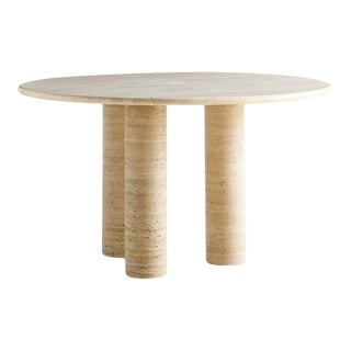 Mario Bellini Style 3 Column Round Travertine Dining Table