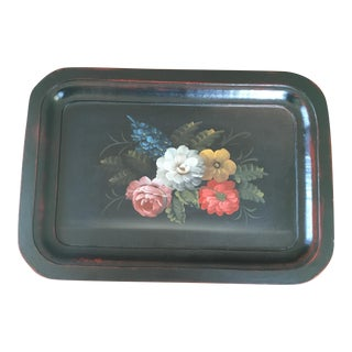 Mid-Century Modern Black Vintage Hand Painted Floral Wooden Tray For Sale