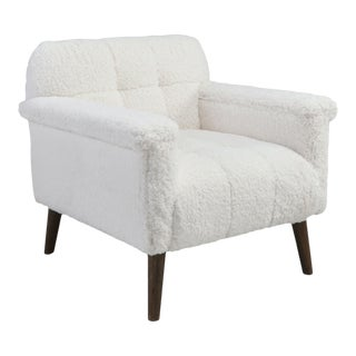 White Fleece Tufted Arm Chair For Sale