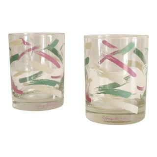 2 Georges Briard Retro Cocktail Glasses Purple Green White Mid Century