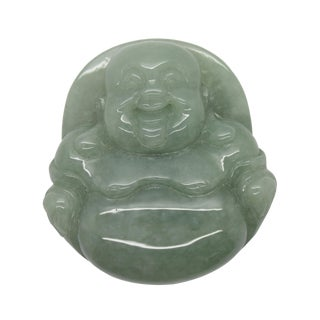 Jade Pendant Light Green Sitting Happy Buddha, Laughing Buddha Figure For Sale