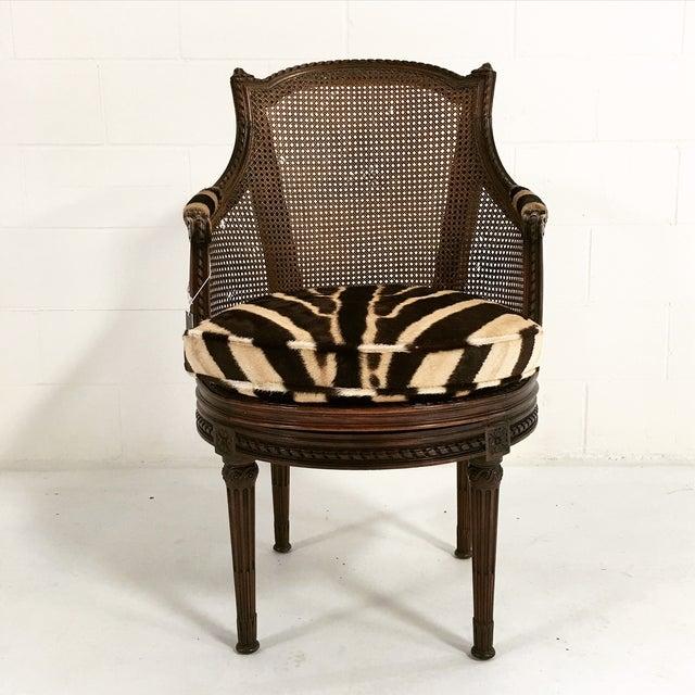 18th Century George Jacob Mahogany & Cane Swivel Bergere with Custom Zebra Cushion For Sale - Image 4 of 7