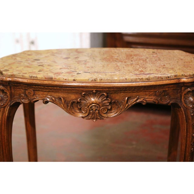 19th Century French Louis XV Carved Oak Side Table With Beige Marble Top For Sale - Image 4 of 13