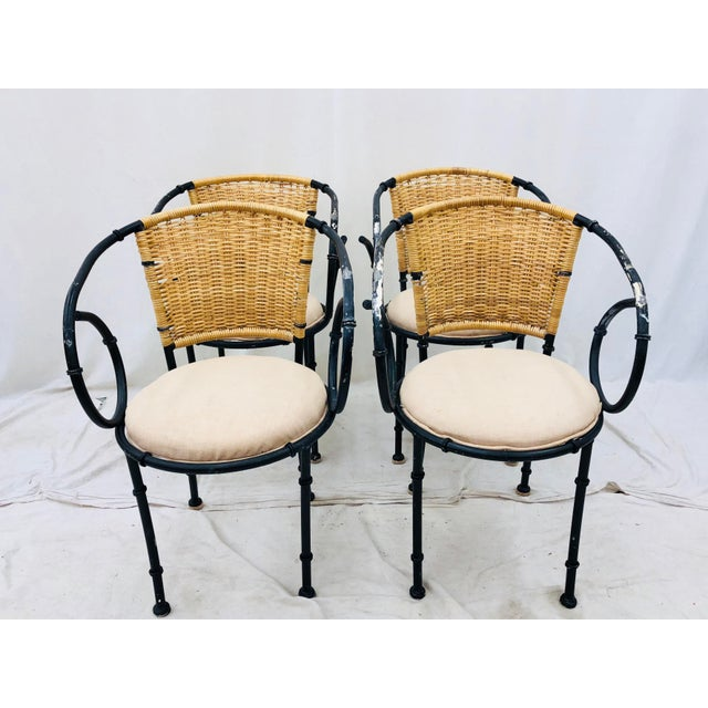 Vintage Metal & Wicker Bistro Chairs For Sale - Image 12 of 13
