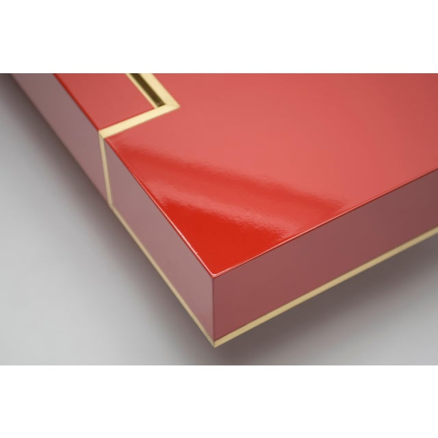 Rare j.c. Mahey Red Lacquer and Brass Coffee Table, 1970s For Sale - Image 10 of 13