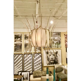 Currey & Co. Asian Modern Solene White and Silver Chandelier Preview