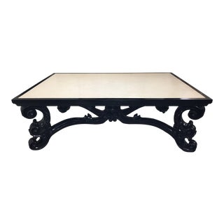 Oly Studio Carved Black Sofia Cocktail Table With Limestone Top For Sale