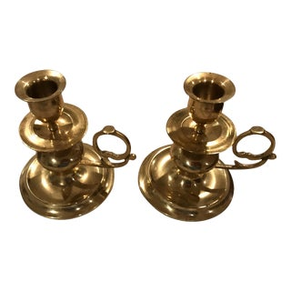 Early 21st Century Vintage Brass Candle Holders- A Pair For Sale