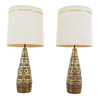 Fortune Lamps Gold and Terracota Geometric Pattern Lamps Dated 1959 - a Pair For Sale