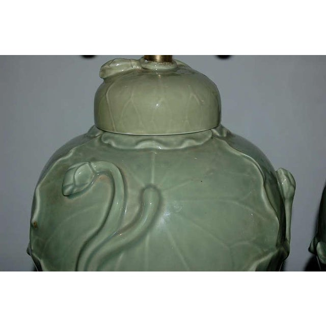 1970s Marbro Italian Porcelain Table Lamps Celadon Green For Sale - Image 5 of 10