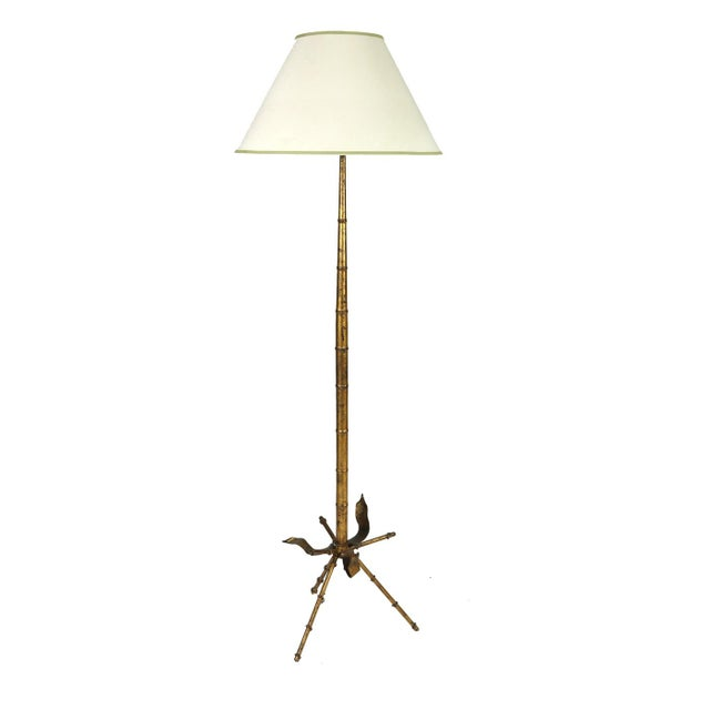 Mid Century Gilded Tole Bamboo Form Tripod Floor Lamp For Sale - Image 9 of 9