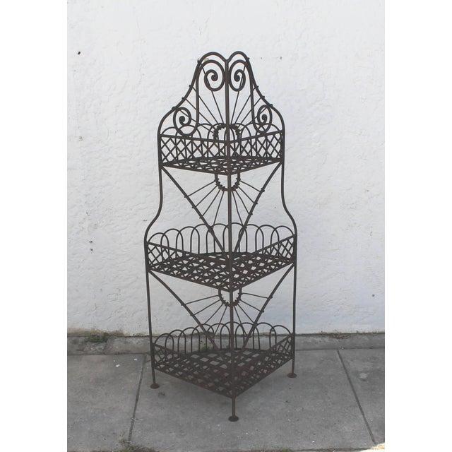 Metal Early 20th Century Spanish Looking Iron Corner Three-Tier Shelf For Sale - Image 7 of 8
