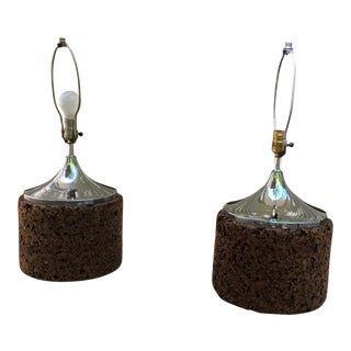1960s Mid-Century Modern Cork and Chrome Lamps - a Pair For Sale