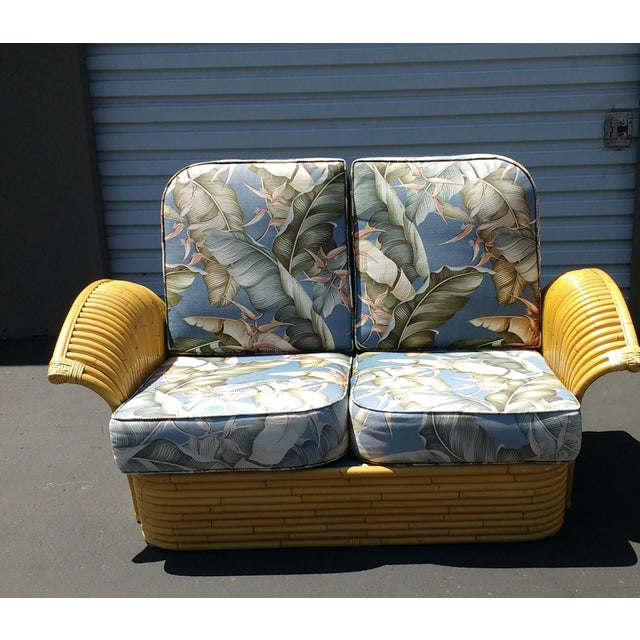 Art Deco Rattan Fan Arm 2 Seat Sofa - Image 8 of 8