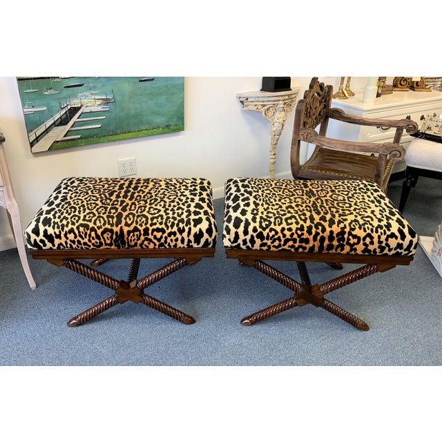 1970s Vintage Palecek Hollywood Regency Velvet Leopard X Benches -A Pair For Sale - Image 10 of 12