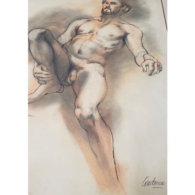 Paper Framed Vintage Figural Nude Charcoal Study by Quitman For Sale - Image 7 of 10