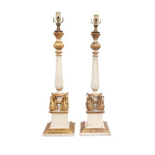 French Swan Column Lamps - a Pair For Sale