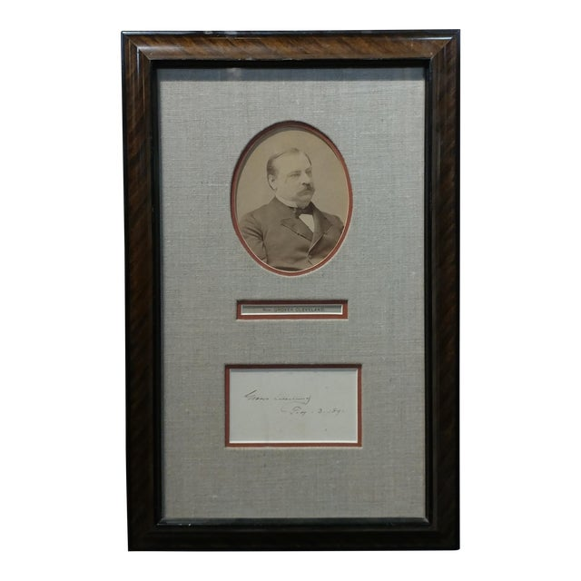 Grover Cleveland -22nd & 24th US President - Original Signature with Photograph-1891 For Sale