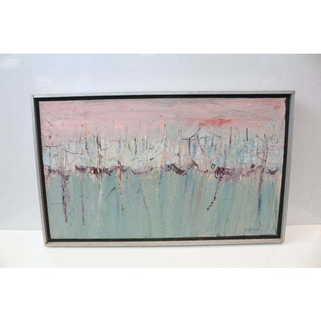 Metal Vintage Mid-Century Kenneth Forman Holland Harbor Abstract Painting For Sale - Image 7 of 8