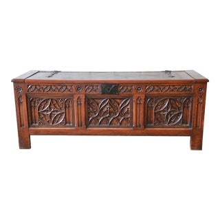 Antique Belgian Gothic Revival Carved Oak Blanket Chest, Circa 1900 For Sale