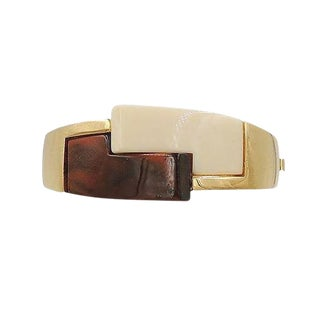 1970s Trifari Museum Piece Brown & Ivory Lucite Cuff Bracelet For Sale