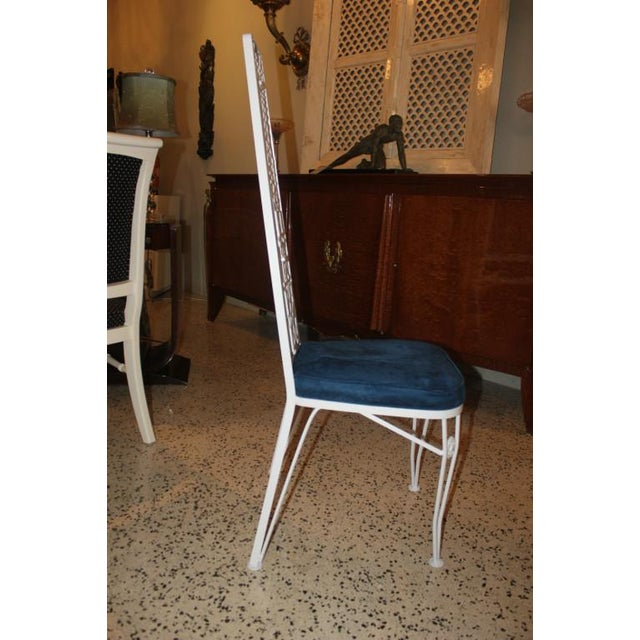 French Art Deco White Lacquered Iron Dining Chairs - Set of 6 - Image 9 of 10