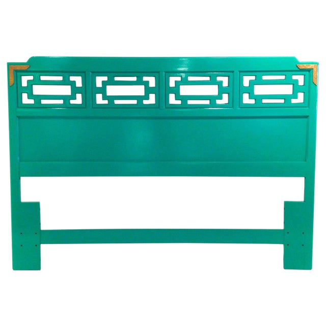 Mid Century Modern Hollywood Glam Brass & Lacquered Green Wood Queen Fretwork Headboard - Image 1 of 5