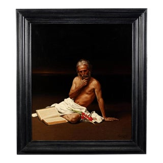 Large Allegory Oil Painting in Frame by Greek Artist Angelos Panayiotou For Sale