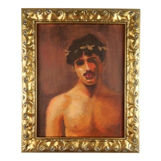 Man With Laurel Wreath, Acrylic on Canvas For Sale