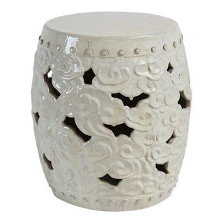 White Ceramic Barrel Cloud Garden Stool