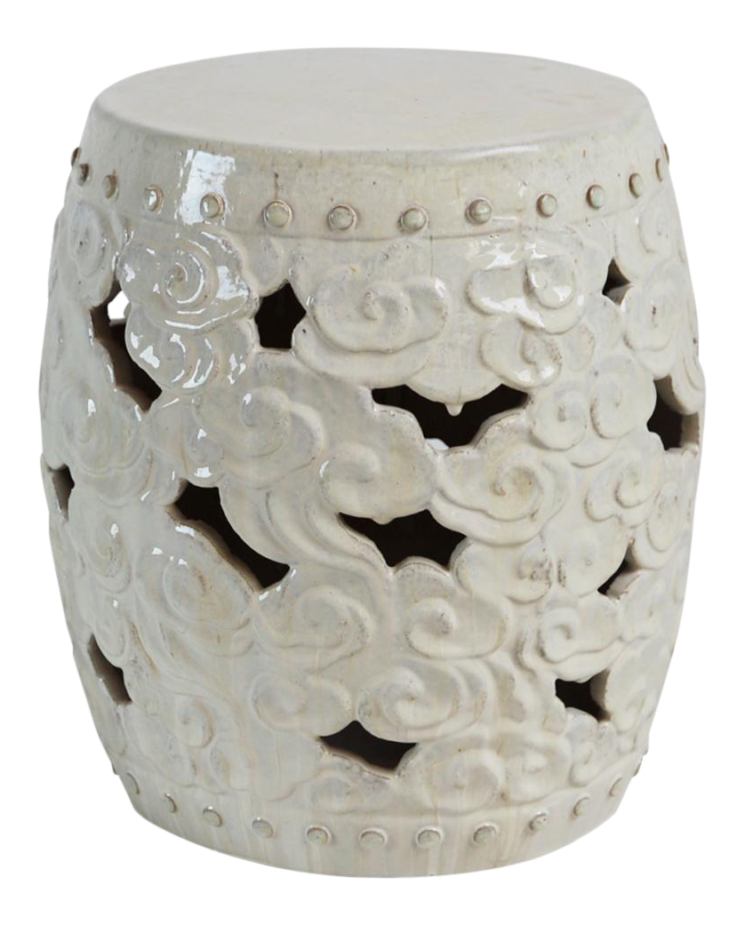 White Ceramic Barrel Cloud Garden Stool