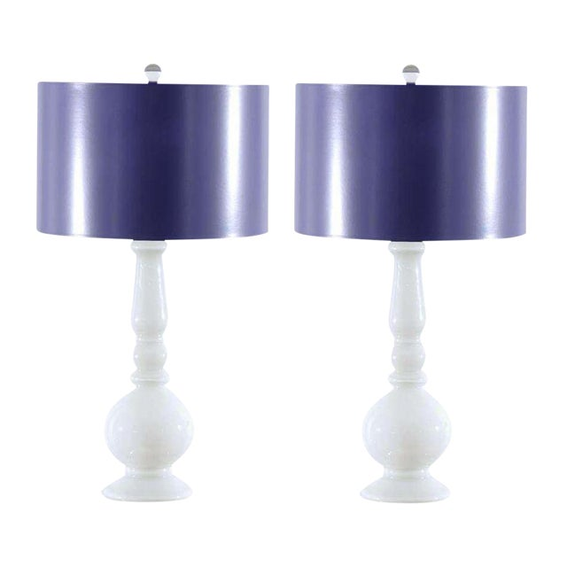 Stellar Pair of Pure White Murano Lamps with Lacquer Shades For Sale