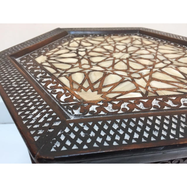 White 19th Century Syrian Mother-Of-Pearl Inlaid Side Table For Sale - Image 8 of 12