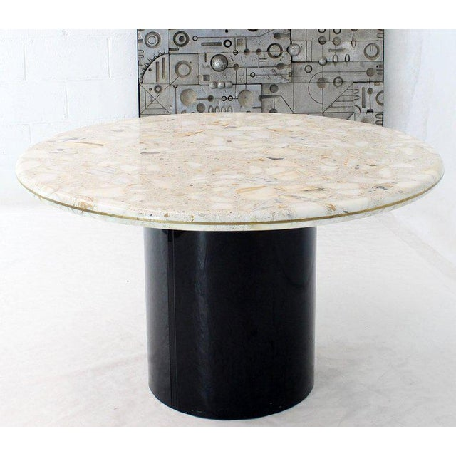 Round Marble Top Cylinder Base Center Conference Gueridon Dining Table For Sale - Image 10 of 10