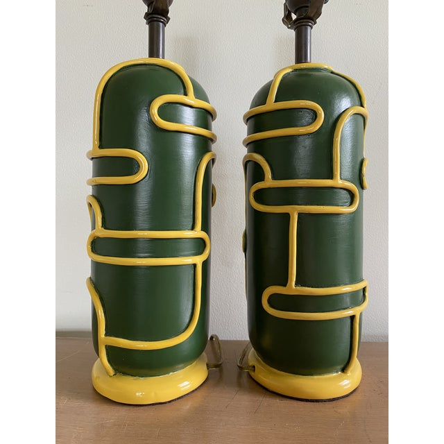 1940s Late 1940s Pottery Ceramic Lamps by Ugo Zaccagnini - a Pair For Sale - Image 5 of 11