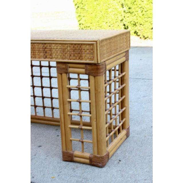 Vintage Italian Dal Vera Bamboo Woven Rattan MCM Desk/Console For Sale - Image 4 of 9