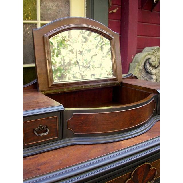 Vintage Flame Walnut & Black Highboy Dresser - Image 4 of 10
