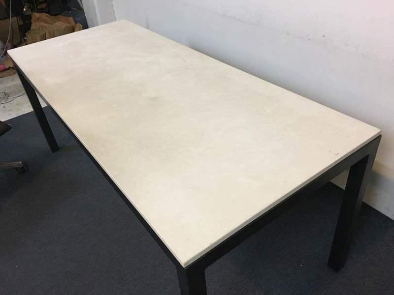 Contemporary White Cast Stone U0026 Metal Dining Table For Sale   Image 3 ...
